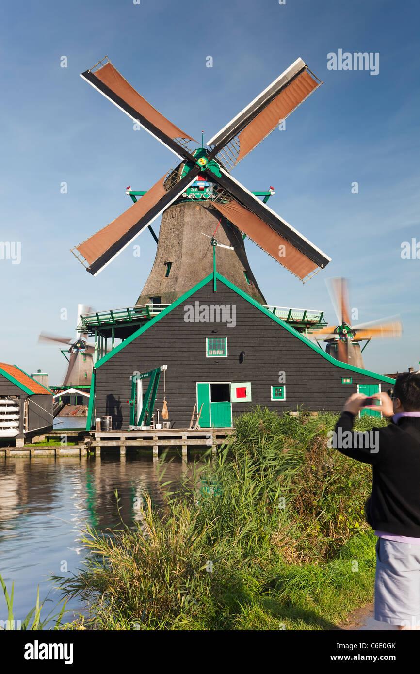 Windmills at Zaanse Schans, Zaandam, Noord Holland, Holland - Stock Image