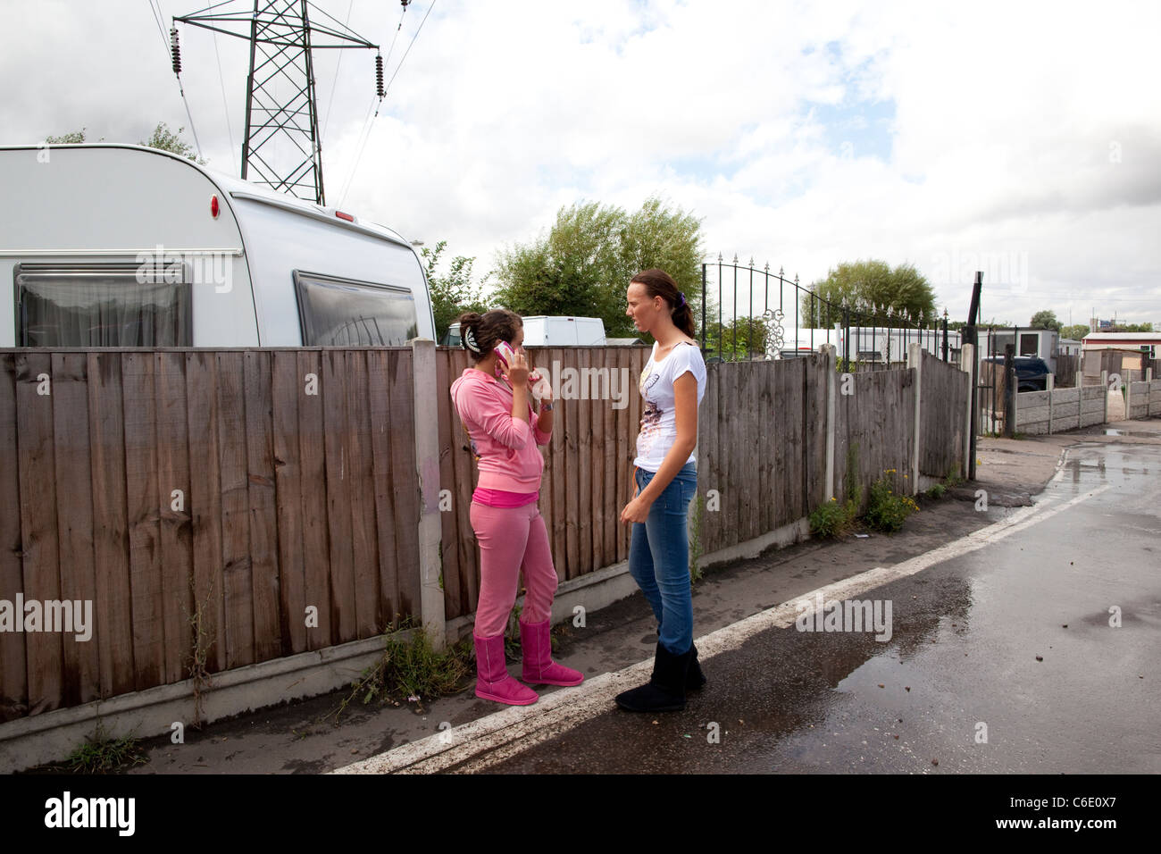 Dale Farm, on the outskirts of  Basildon, Essex, the largest Irish Traveller and Gypsy site in Europe.Photo:Jeff - Stock Image