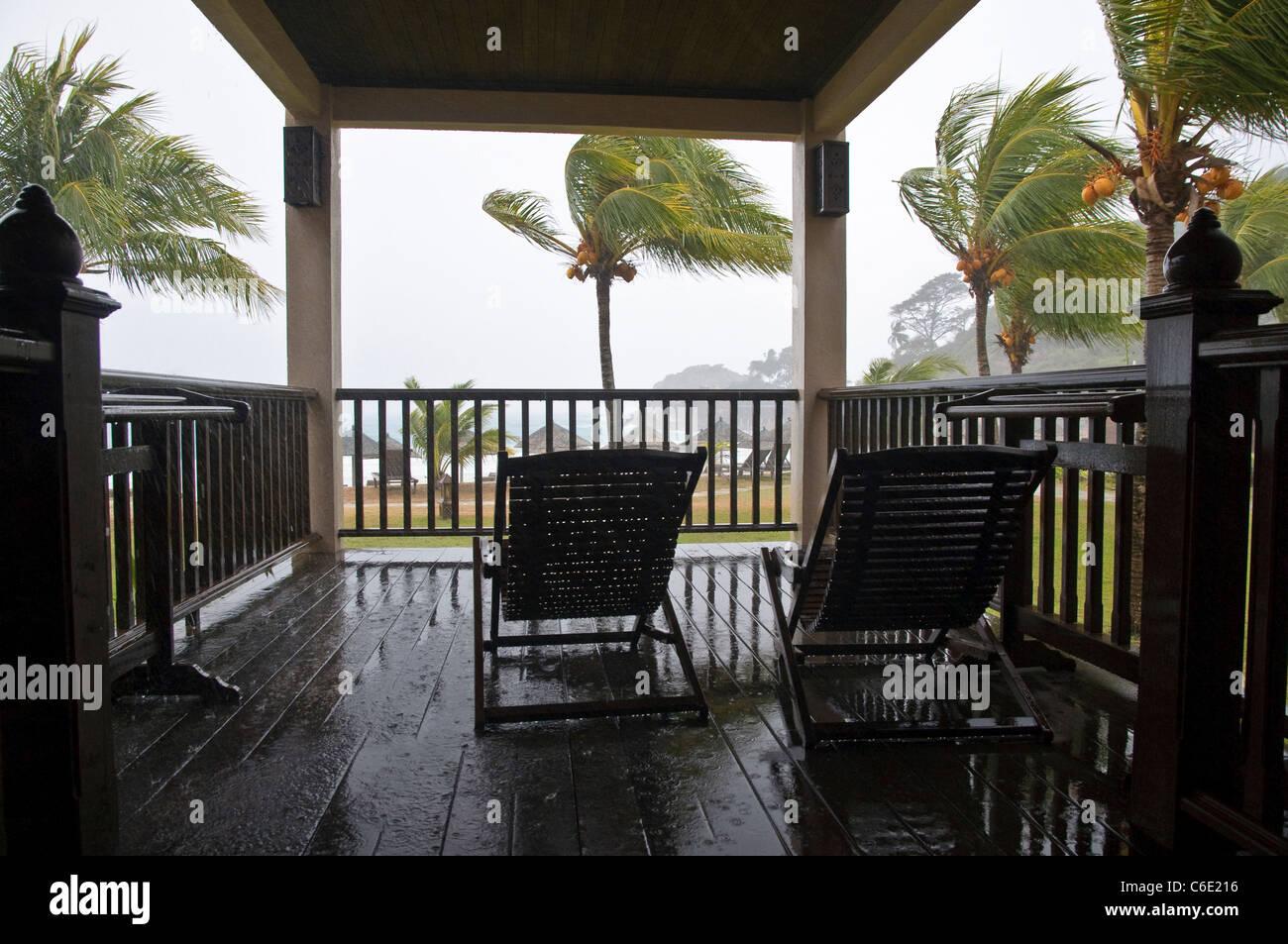 Sun terrace in the rain, thunderstorm, monsoon, Laguna Redang Island Resort, Pulau Redang island, Malaysia, Southeast Asia, Asia Stock Photo