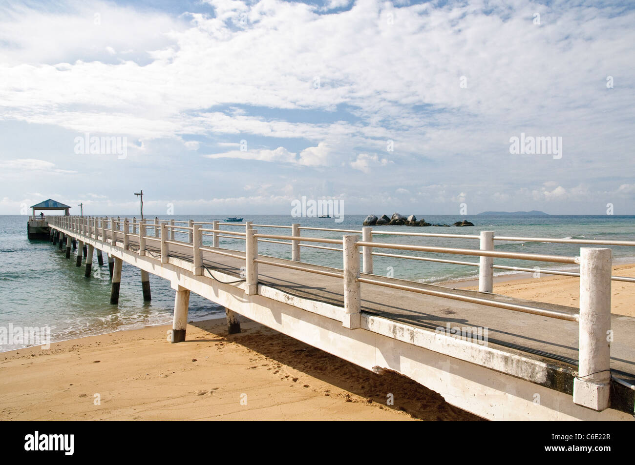 Pier on the beach of Paya, Pulau Tioman Island, Malaysia, Southeast Asia, Asia Stock Photo