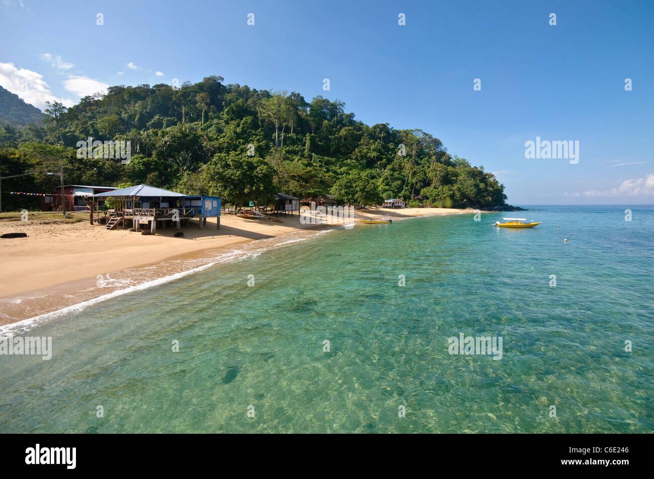 Huts on the beach of Paya, Pulau Tioman Island, Malaysia, Southeast Asia, Asia Stock Photo