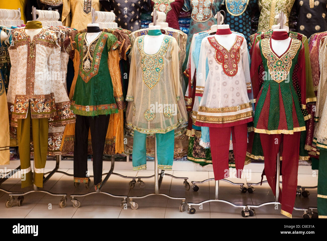 Colourful Indian clothes for sale in the Tekka Centre market, Little ...