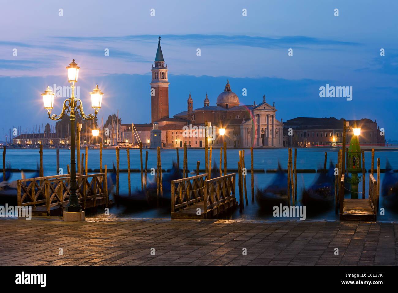 Quay at St Mark's Square with Gondolas and the view to San Giorgio Maggiore Island, Venice, Italy, Europe Stock Photo
