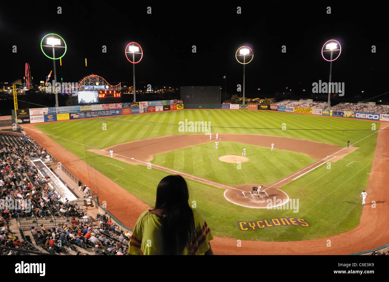 Brooklyn Cyclones night baseball game, view from Luxury Suite outdoor area, MCU Park, Coney Island, New York USA - Stock Image