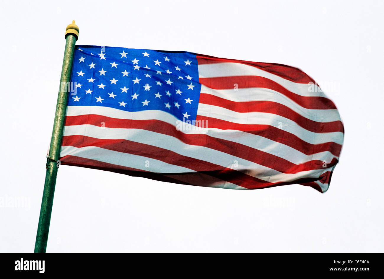 USA Flag, Stars and Stripes, United States of America, American national flags flying from flagpole - Stock Image