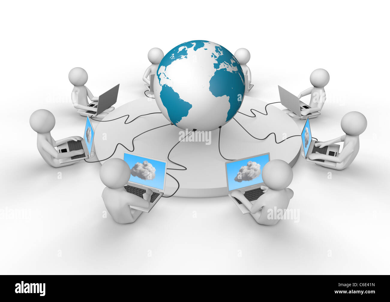 Render Several Laptops Connected Wire Stock Photos Laptop Connections For Wiring Diagram Of By To The Internet And Cloud Image