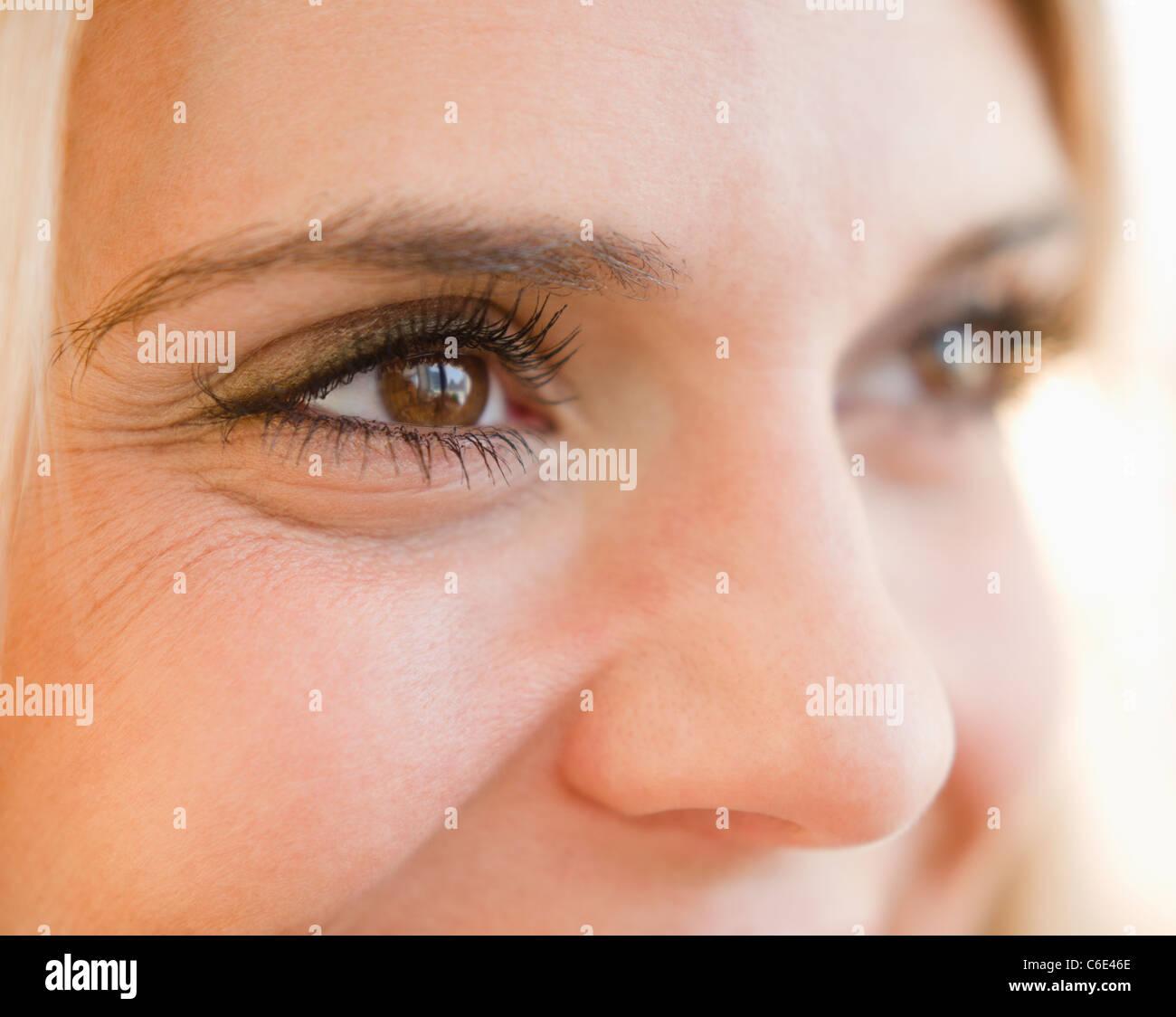 USA, New Jersey, Jersey City, Close up of eyes of beautiful woman - Stock Image
