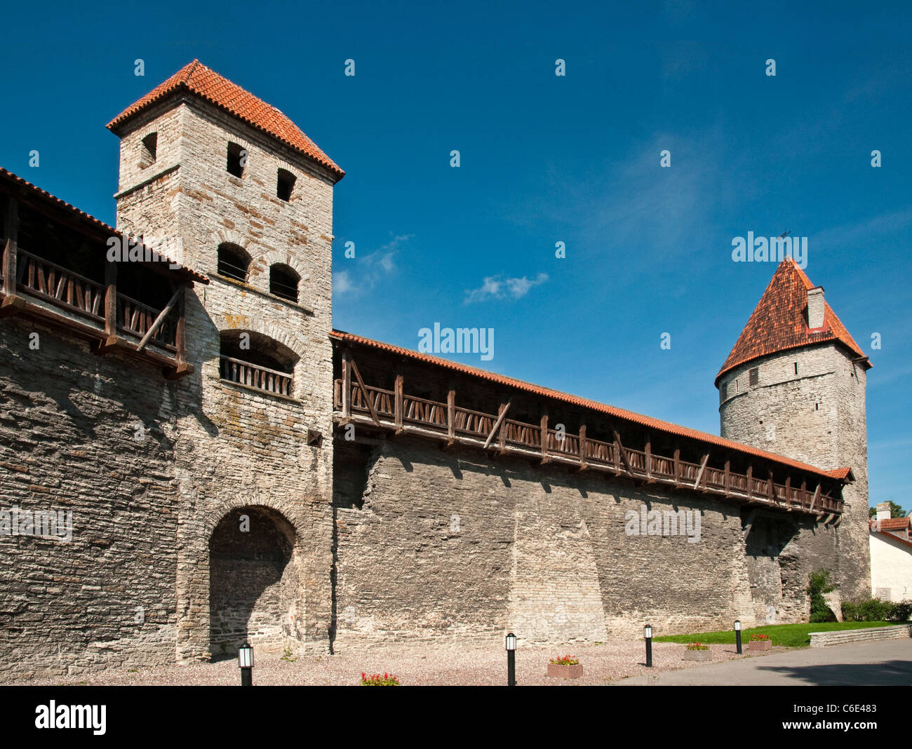 Ancient city walls and watchtowers in Tallinn, Estonia - Stock Image