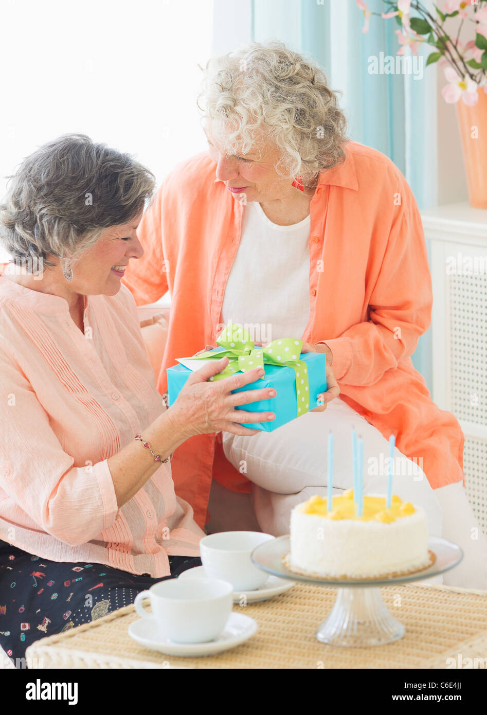 USA New Jersey City Two Senior Women Celebrating Birthday