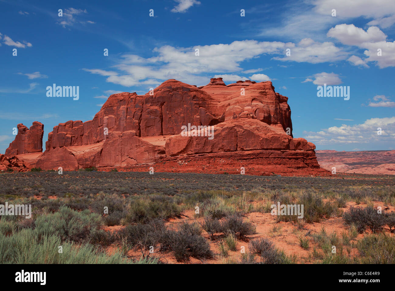 Red Rock formations, located in Arches National Park in Moab, Utah. - Stock Image