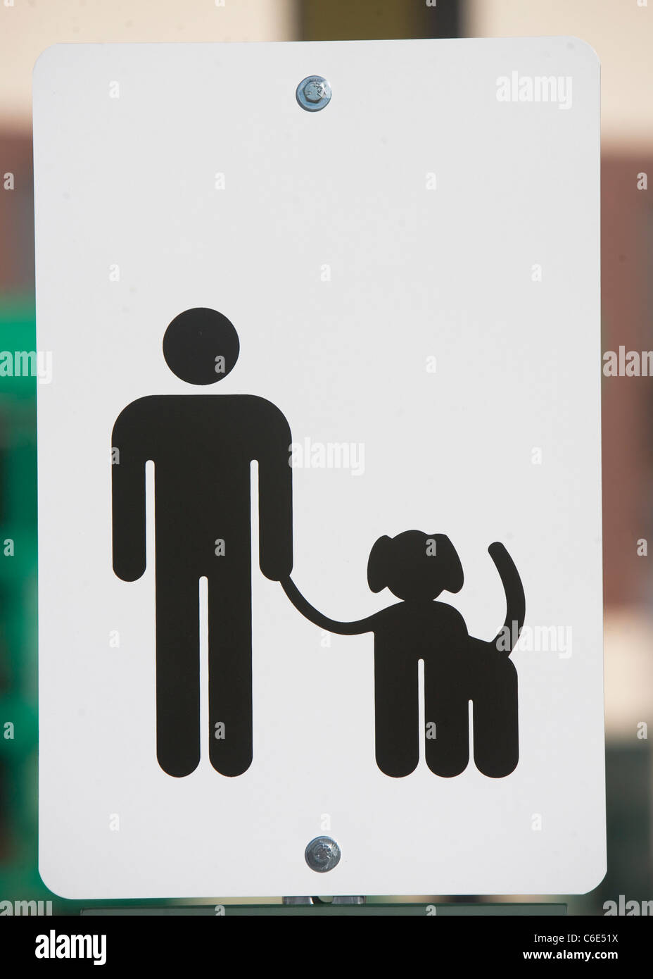 USA, New York State, New York City, dog walking sign, close-up - Stock Image