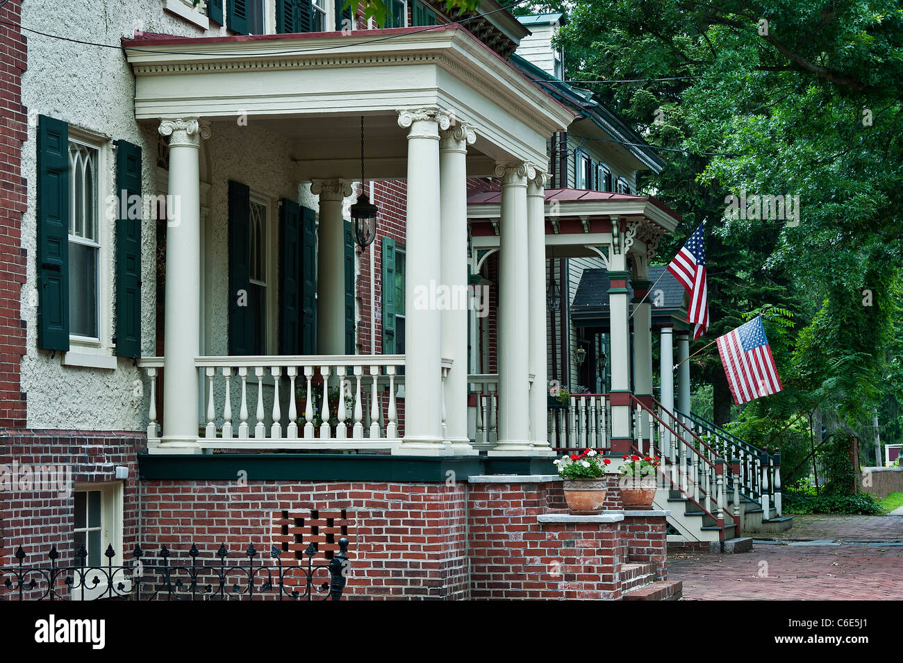 Victorion homes, High Street, Mount Holly, New Jersey, USA - Stock Image