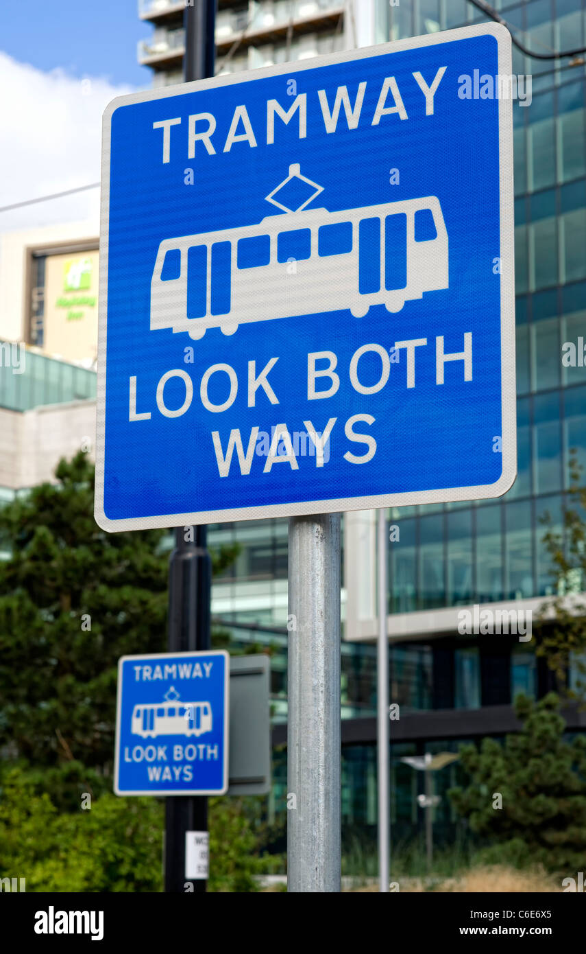 Tramway Look Both Ways signs - Stock Image