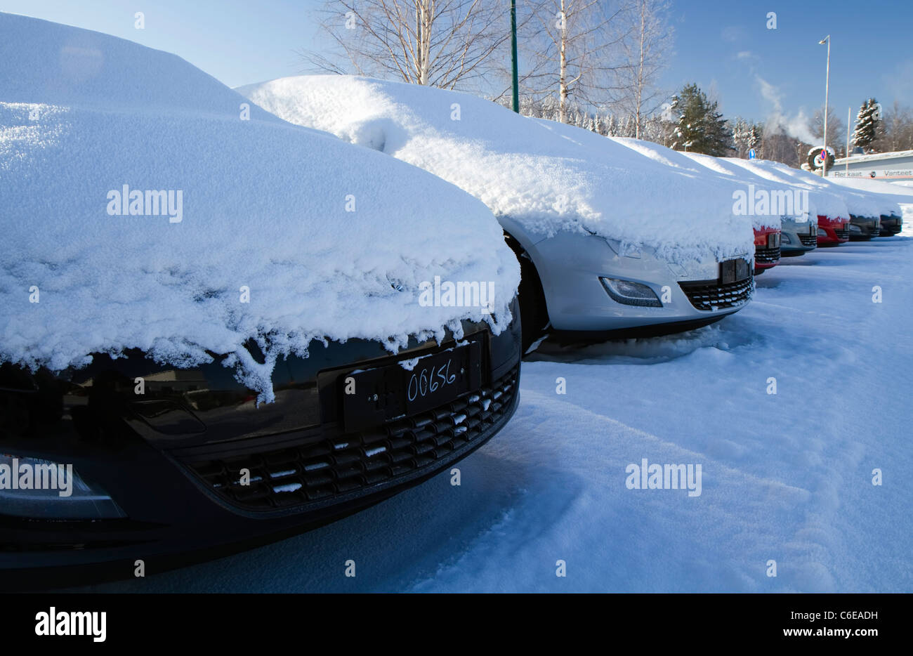 Unsold cars waiting for byers under heavy snow Stock Photo: 38424221 ...