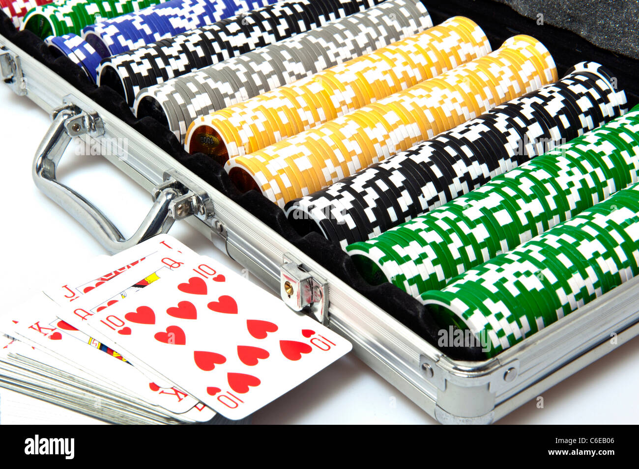 metal briefcase with fisches for the game of poker - Stock Image