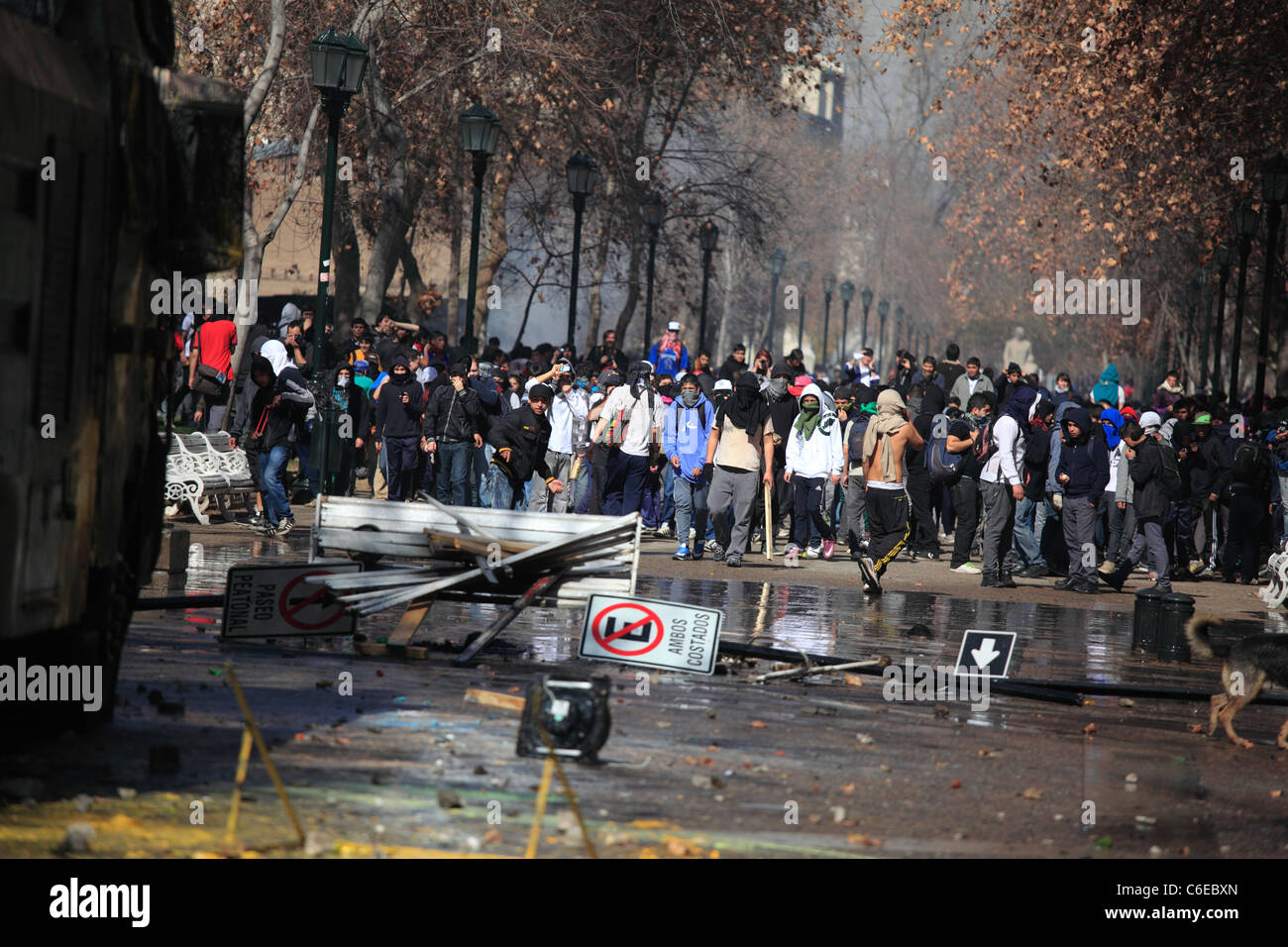 Violence during a student strike in Santiago's Downtown, Chile. - Stock Image