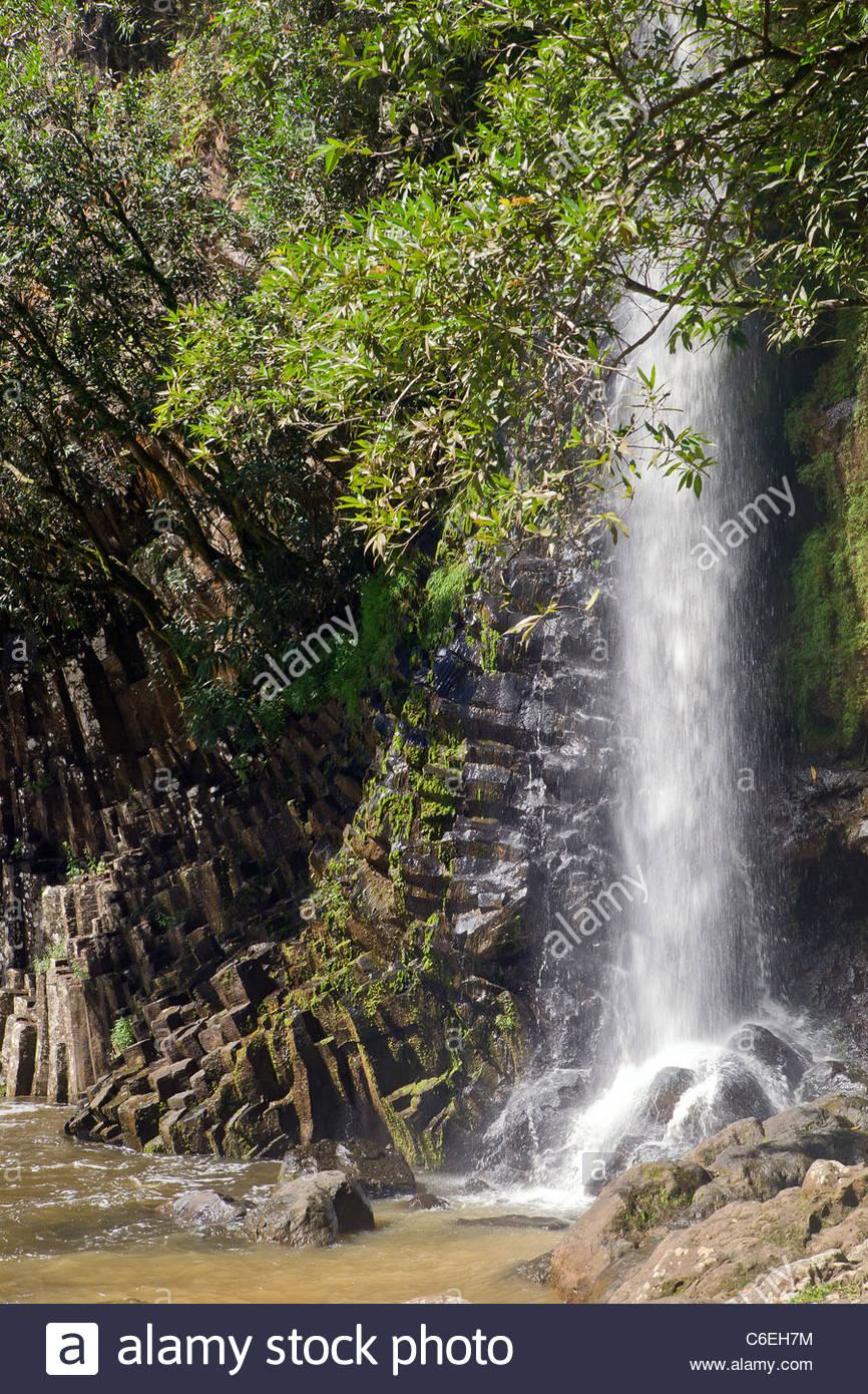 Reunion island : waterfall and polygonal basalt at Bassin la Paix - Stock Image