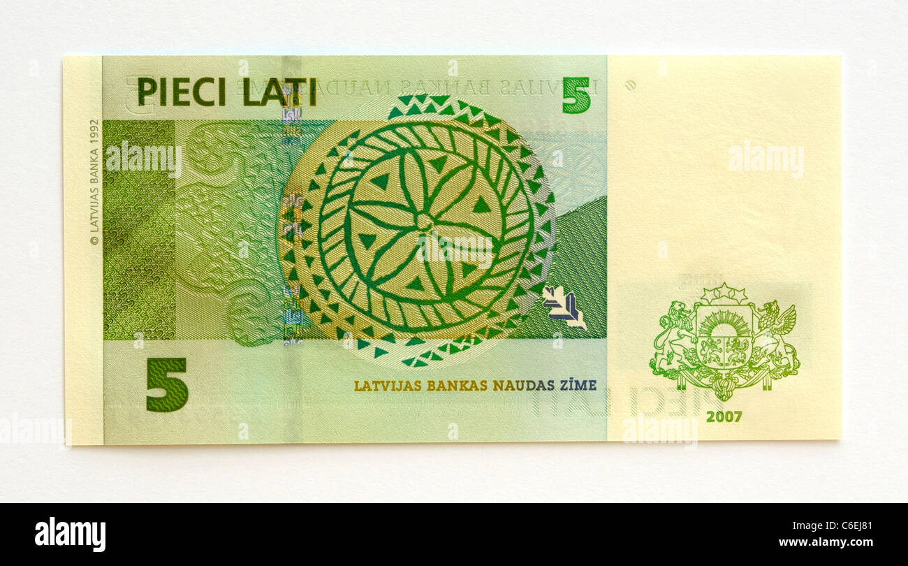 Latvia 5 Five Lati Bank Note - Stock Image