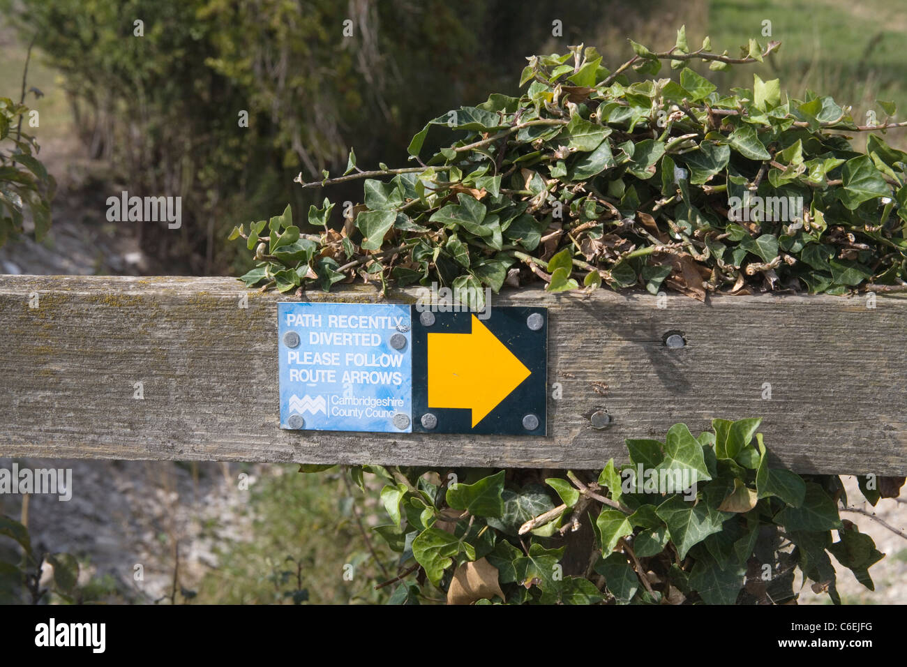 a diverted public footpath in cambridgeshire - Stock Image