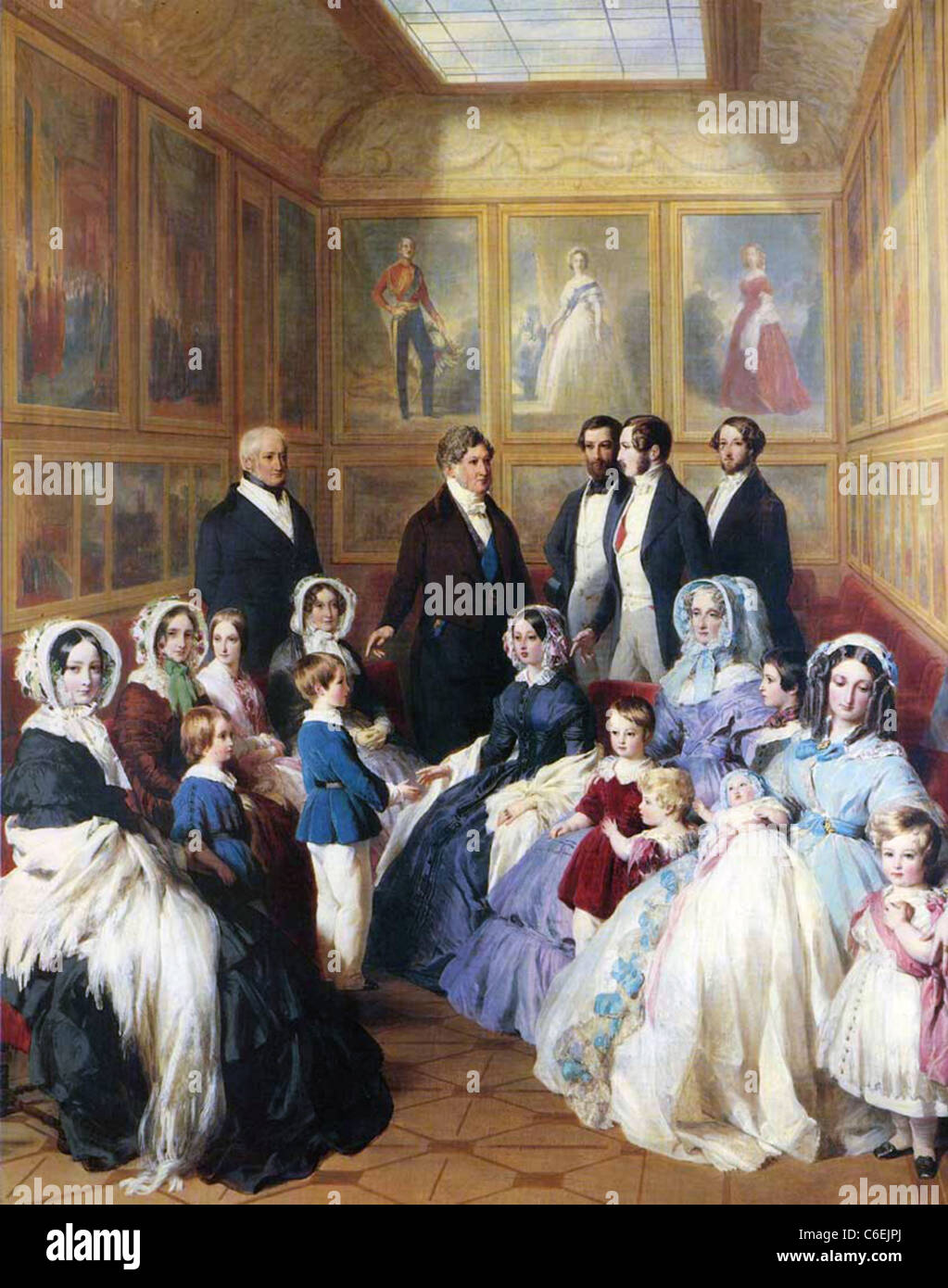 QUEEN VICTORIA and Prince Albert  receive French King Louis Philippe ! in 1844 in the painting by Franz Winterhalter - Stock Image