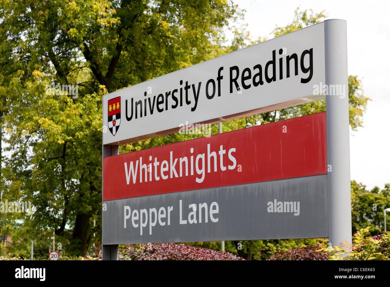 Whiteknights University of Reading sign board - Stock Image