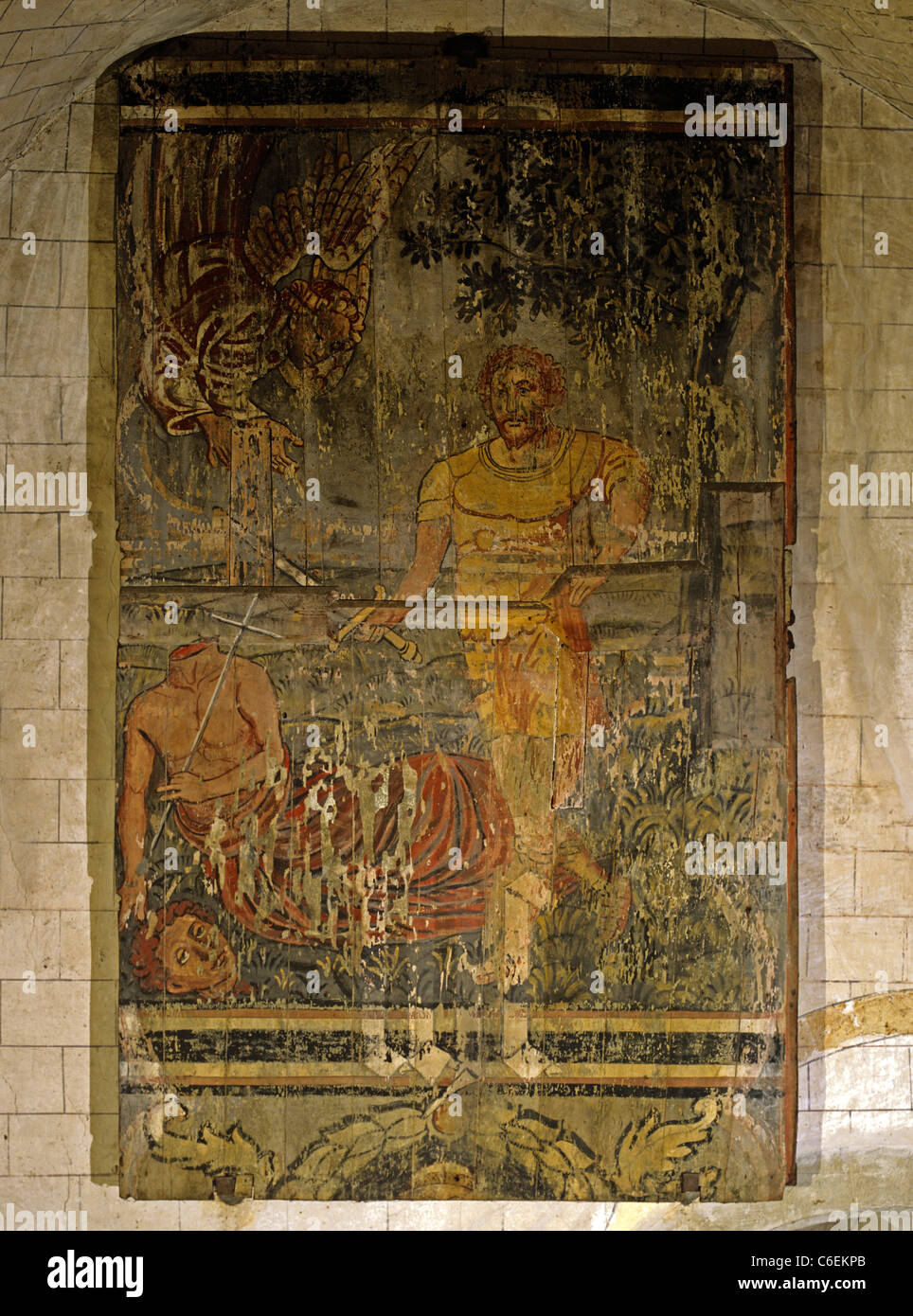 The beheading of Alban, the first British Martyr. Painted wooden panel in St Alban's Cathedral c. 1530 - Stock Image