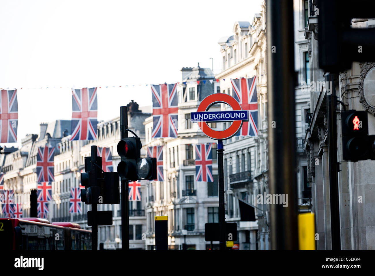 Union jack flags hanging on Regent Street, London - Stock Image