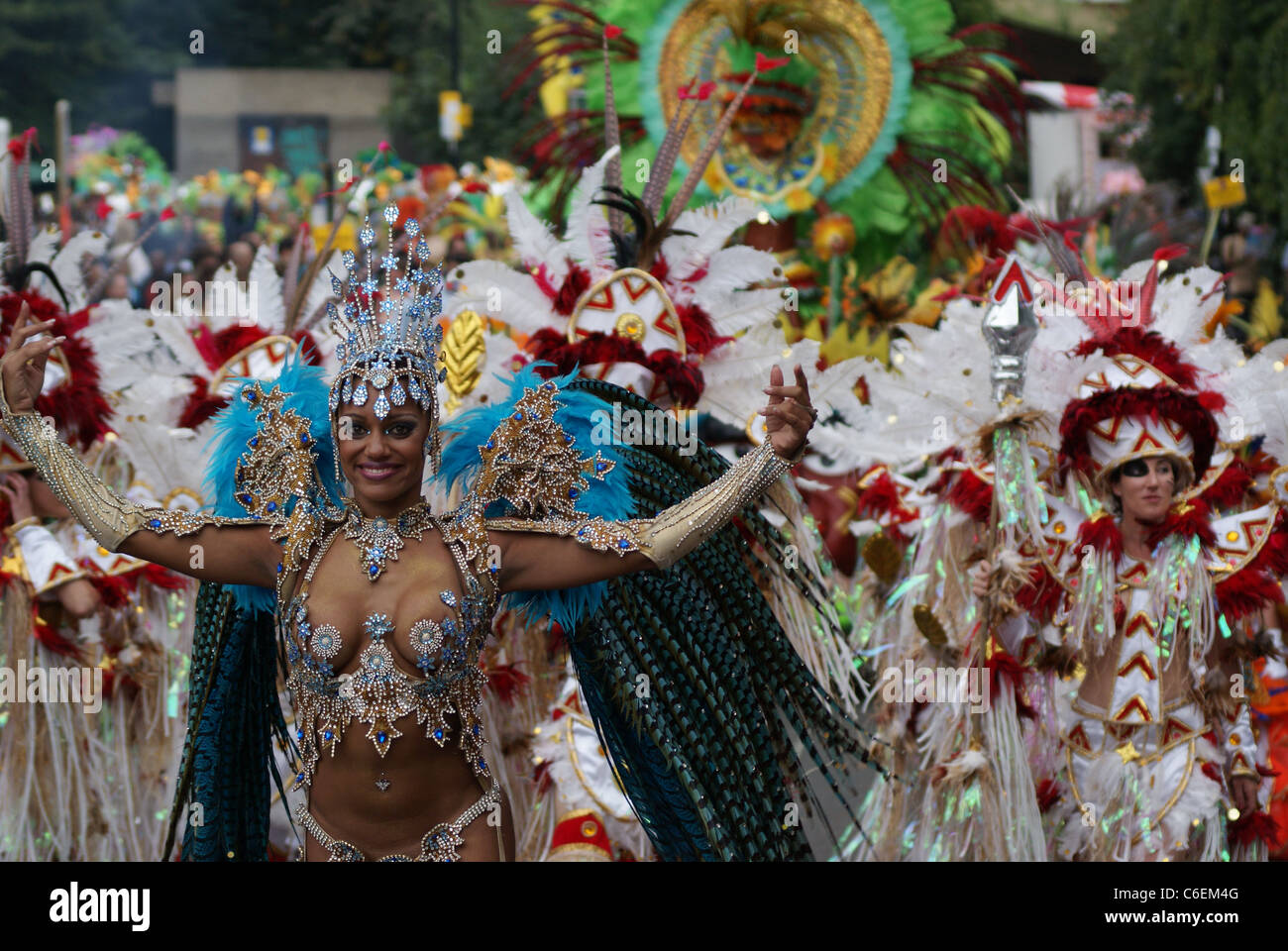 Performers in the Notting Hill Carnival, Europe's biggest festival. - Stock Image