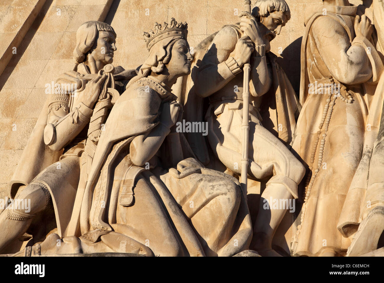 Detail from the Monument to the Discoveries (Padrao dos Descobrimentos) in Belem, Lisbon, Portugal. - Stock Image