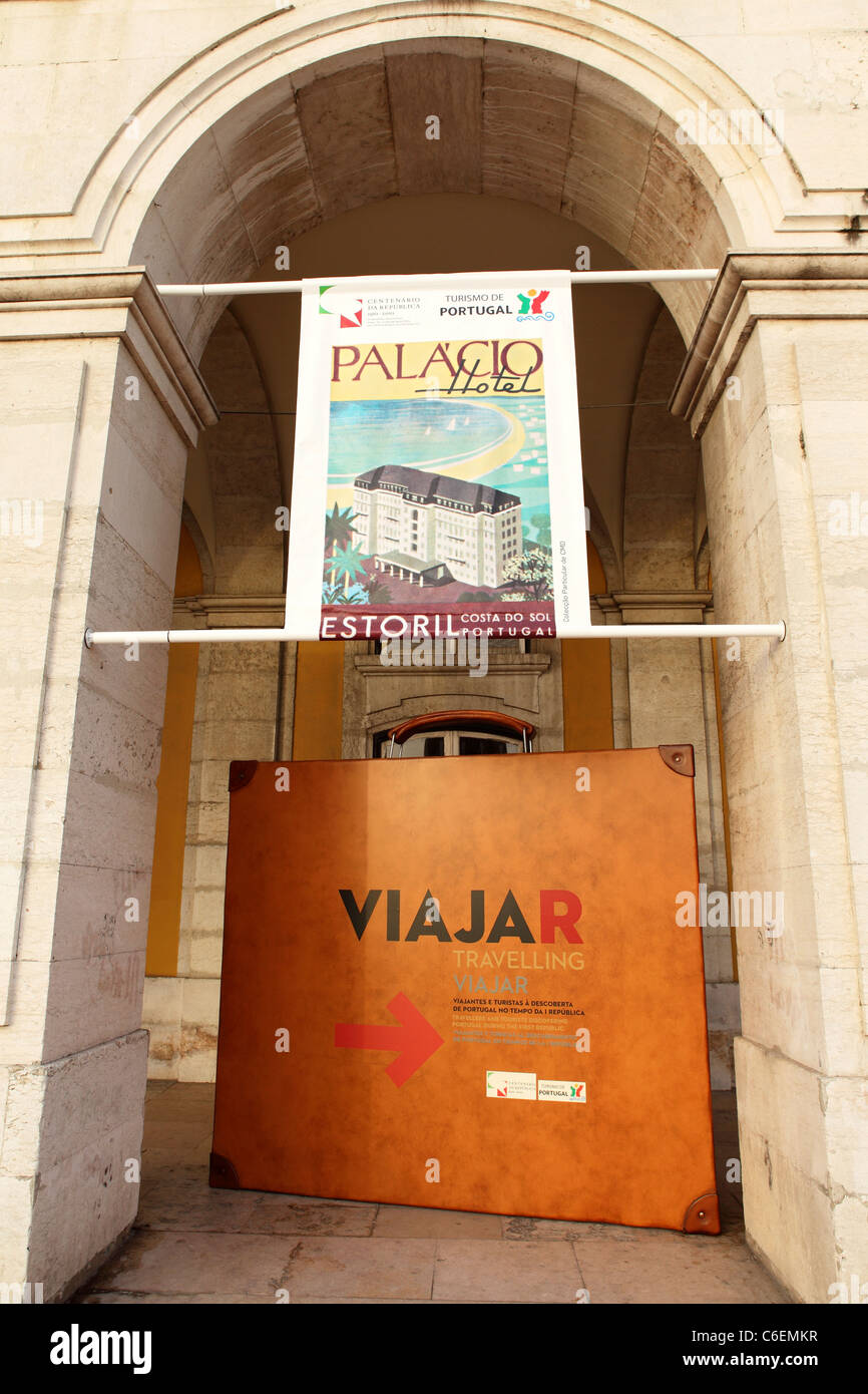 A giant suitcase is used to advertise the Viajar 'Travel' exhibition in Lisbon, Portugal. - Stock Image
