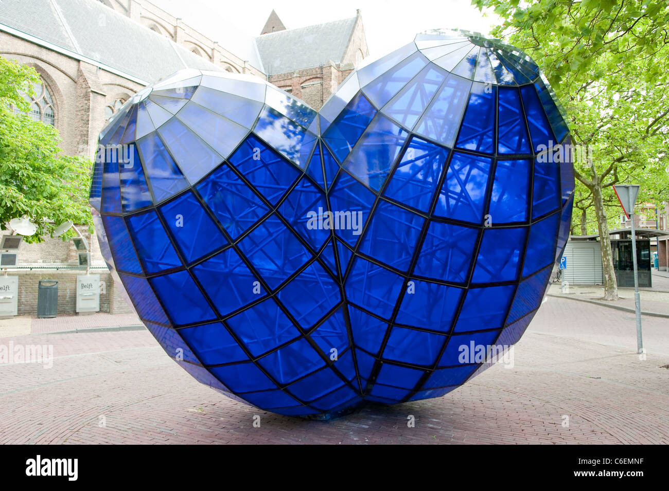 Big Blue Glass Heart Love Delft Holland Netherlands Europe - Stock Image