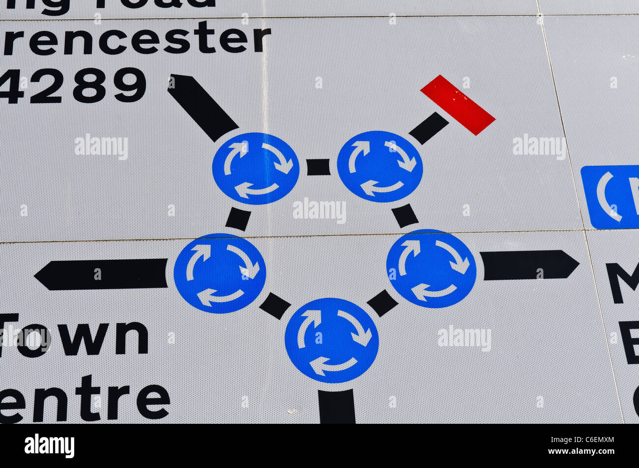 'The Magic Roundabout' in Swindon - a series of 5 small roundabouts making up a larger one. Voted the scariest - Stock Image
