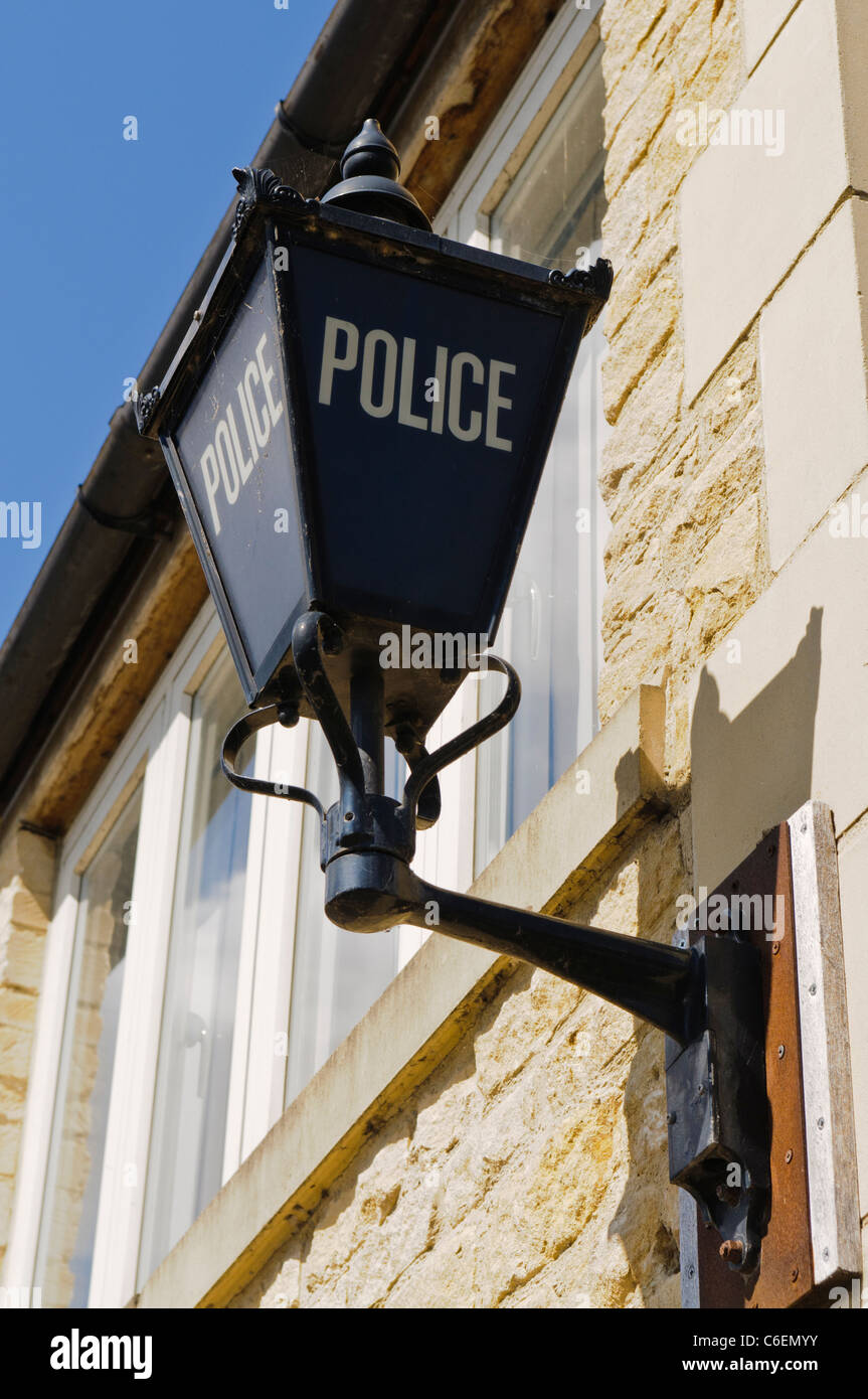 Blue Police lamp on the outside of an English Police Station - Stock Image