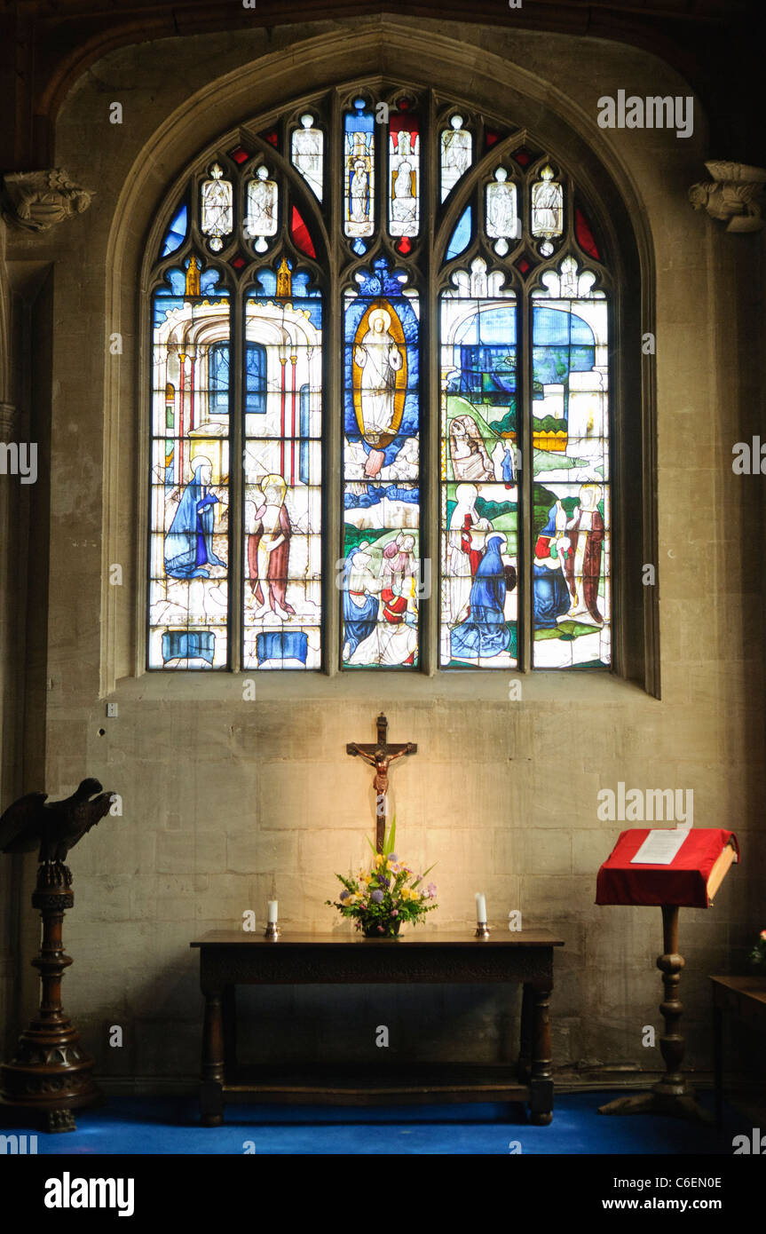 Stained glass window in Church of St Mary, Fairford, Gloucestershire - Stock Image