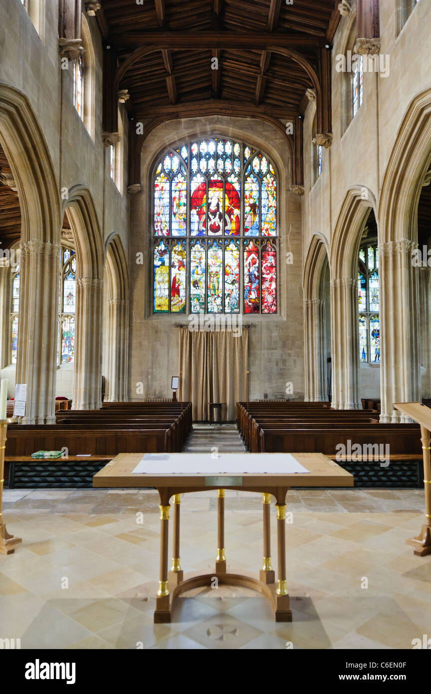 Inside of Church of St Mary, Fairford, Gloucestershire - Stock Image