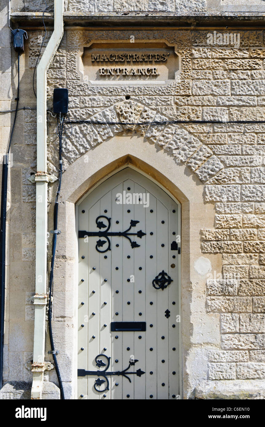 Magistrates doorway at the old courthouse, Fairford, Gloucestershire - Stock Image