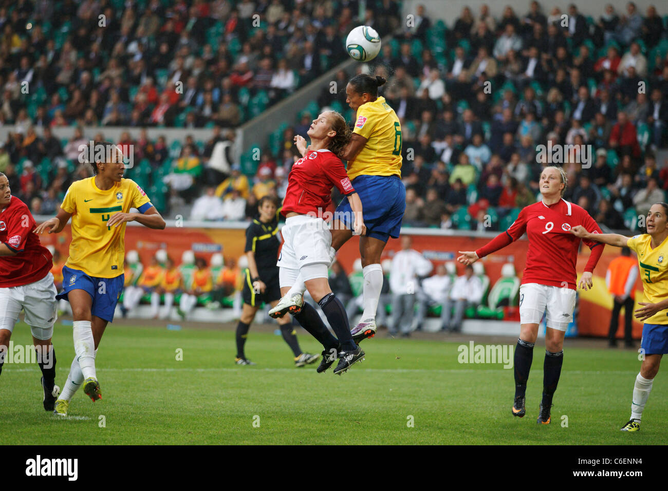 Madeleine Giske of Norway (l) and Rosana of Brazil (r) jump for the ball during a FIFA Women's World Cup match - Stock Image