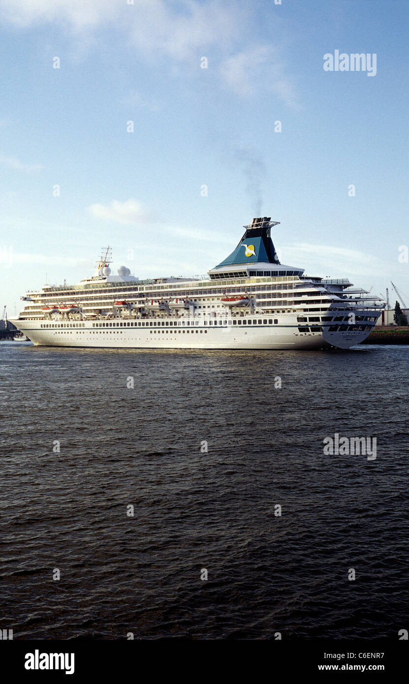 Arrival of cruise ship MS Artania in the port of Hamburg on her first day in service for German Phoenix Reisen. - Stock Image