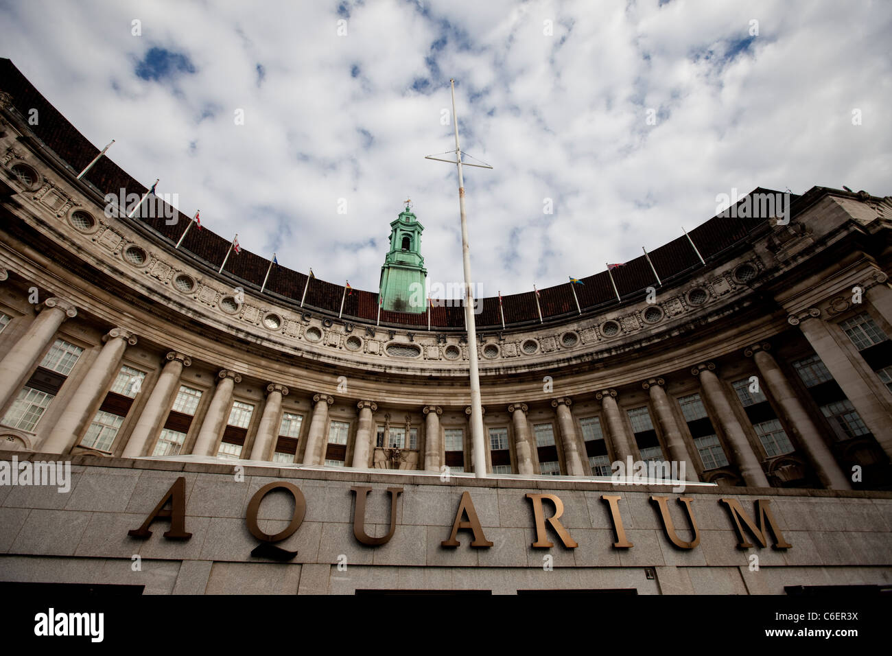 An exterior view of the London Aquarium and London Film Museum near Westminster Bridge. - Stock Image