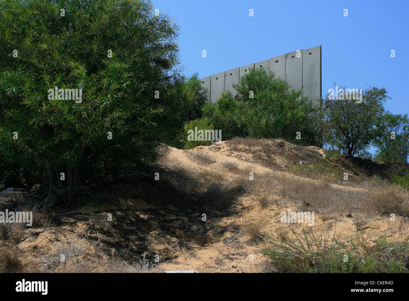 A piece of the wall which marks the border between Gaza strip and Israel. - Stock Image