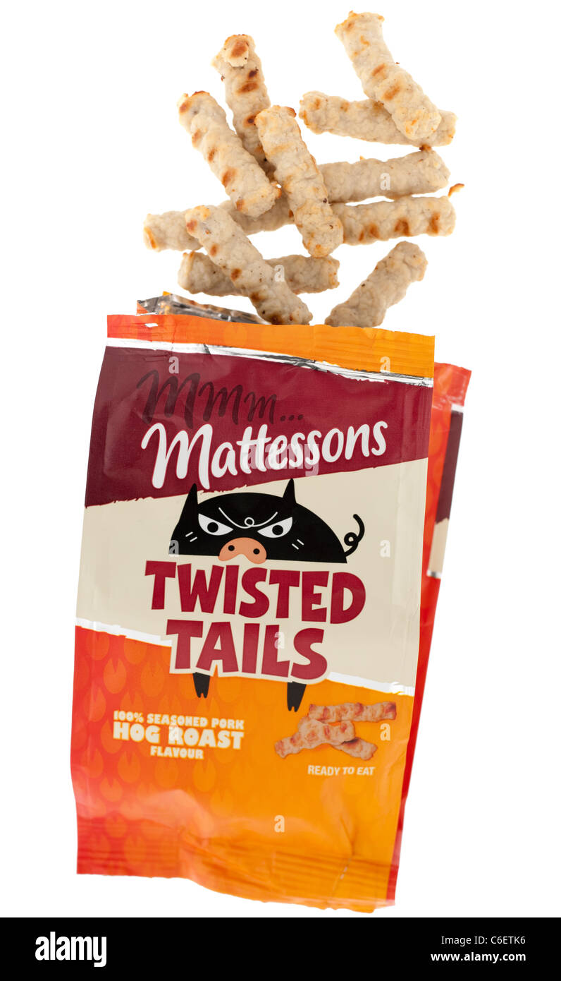 Packet of seasoned pork snacks Mattessons twisted tails - Stock Image