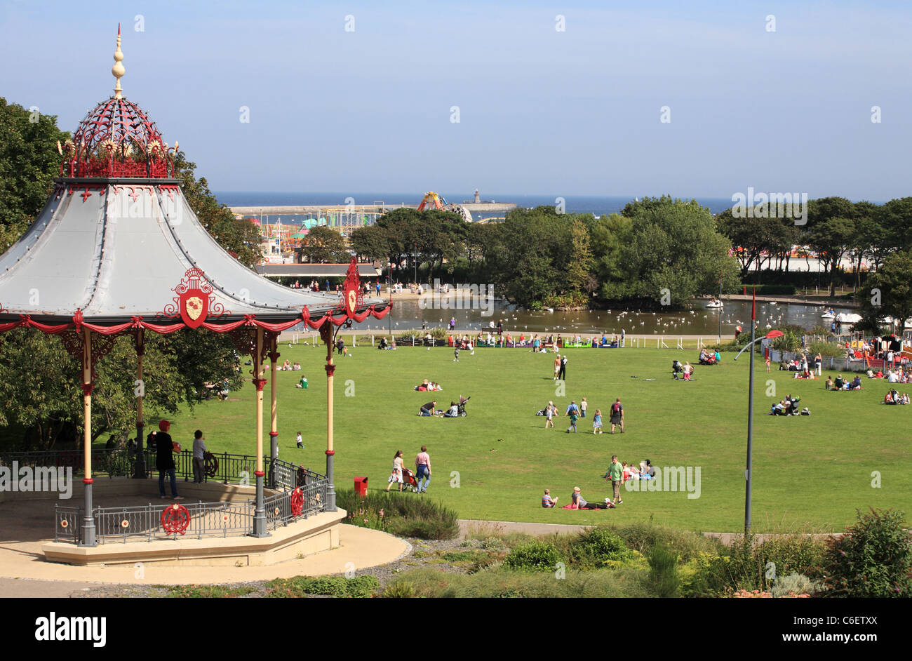 South Shields South Marine Park with bandstand, boating lake and miniature steam railway, North East England, UK - Stock Image