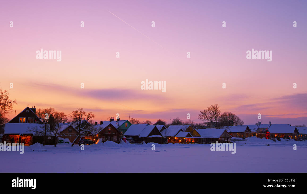 Sunset in Trakai Stock Photo