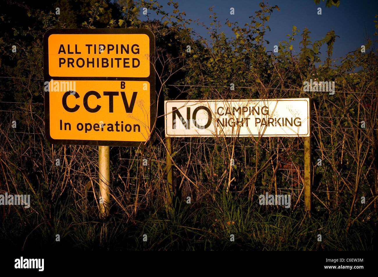 Roadside warning signs cameras, camping, clip-art, collection, colorful, england, illustration, lights, - Stock Image