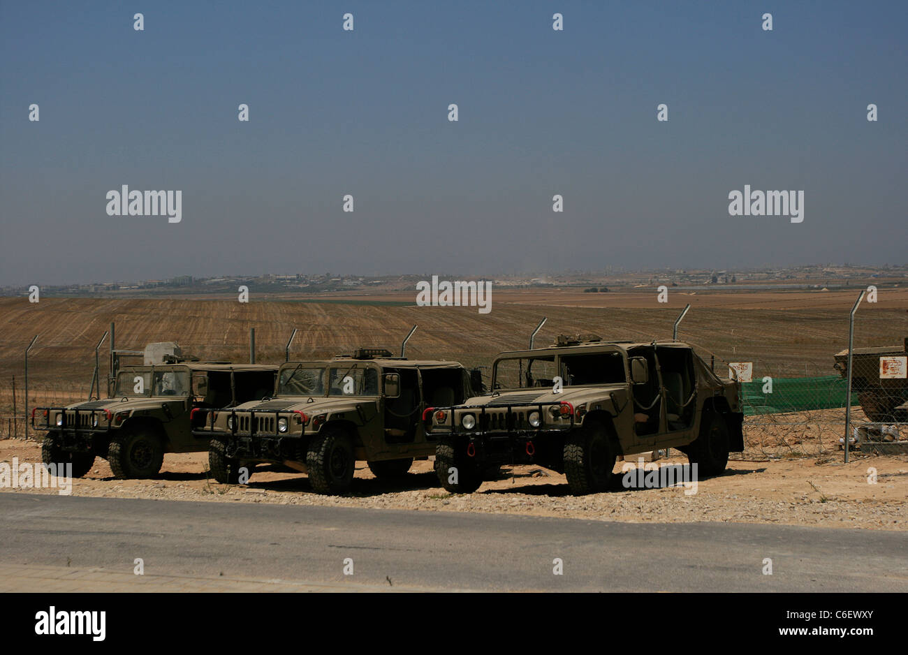 A military base of the Israeli army ( IDF ) on the border between Israel and Gaza. - Stock Image