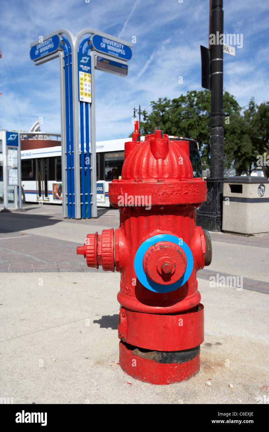red mathews fire hydrant winnipeg manitoba canada - Stock Image
