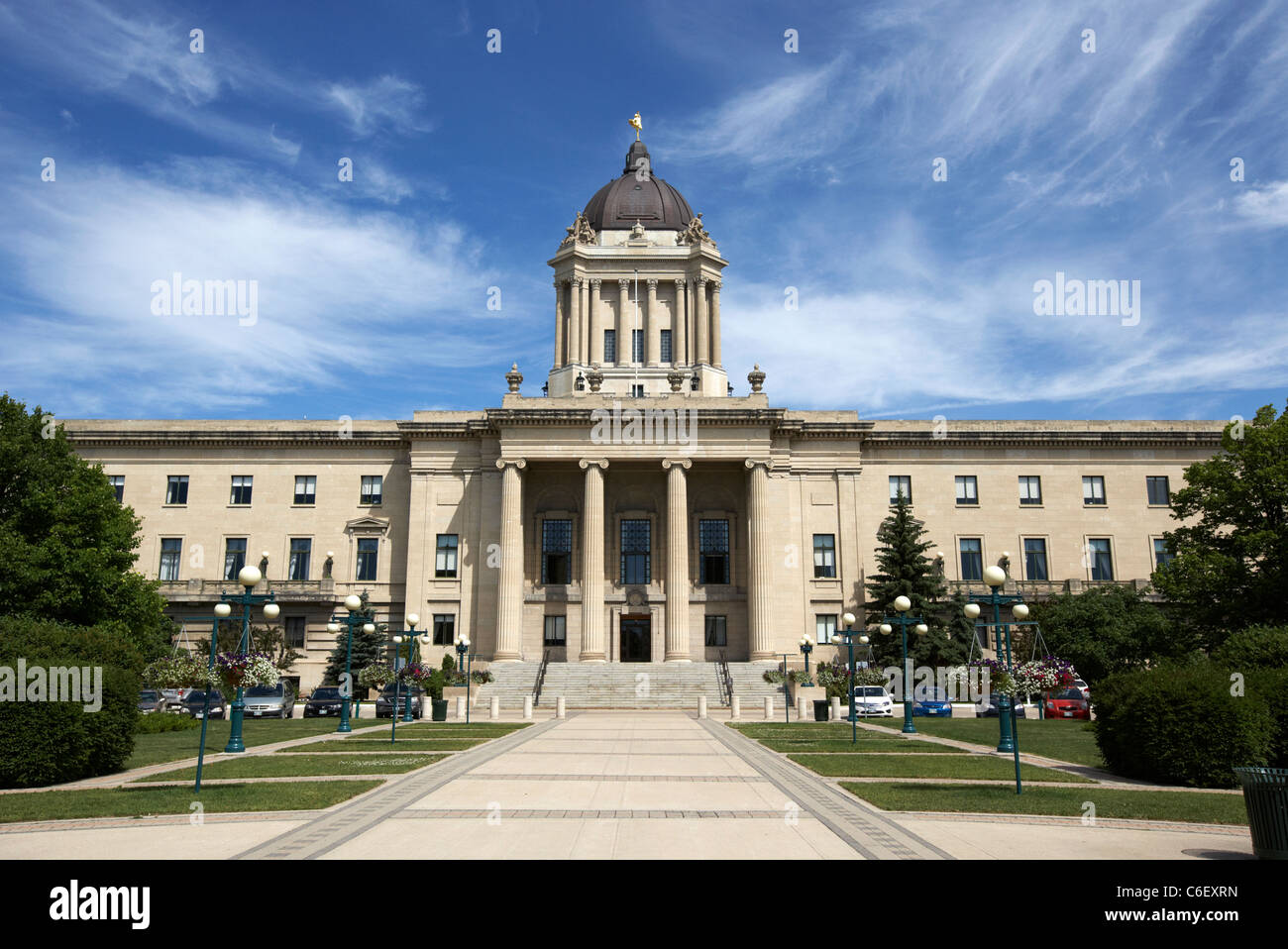rear of the manitoba legislative building winnipeg manitoba canada - Stock Image