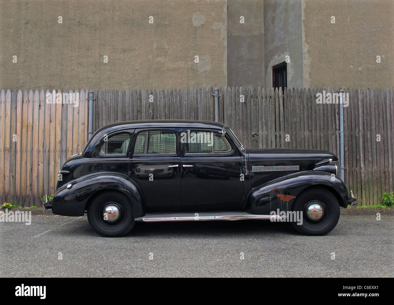 Black antique, vintage 40's car, auto - Stock Image
