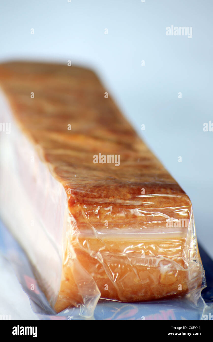 packed pork bacon as meat food - Stock Image