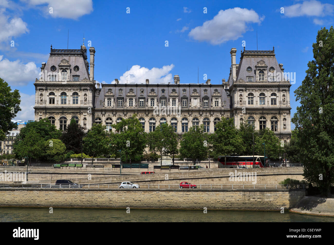 Hotel de Ville, Paris, from the River Seine. French Renaissance style building houses the administration of the - Stock Image